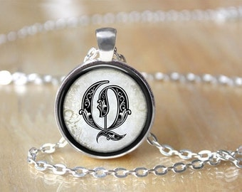 Elegant Initial Glass Necklace Glamour Jewelry - Hollywood Glam Jewelry - Hollywood Silver Necklace Pendant - Elegant Vintage Hollywood Gift