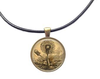 Dandelion pendant Botanical jewelry Flower necklace
