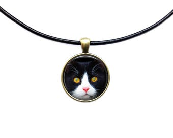 Black cat with yellow eyes pendant Animal necklace Pet jewelry