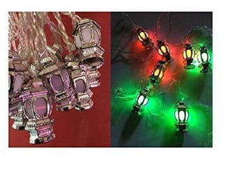 Ramadan & Eid Home Decoration Multicolor Fanoos Silver Lantern String light LED