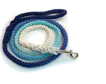 "Ombre Rope Leash ""Jean Luc"" in Two Tone Blue Ombré"