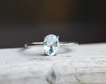 Blue Topaz Ring Sky Blue Topaz Ring Topaz Promise Ring Blue Topaz Band Light Blue Topaz Ring Blue Topaz Engagement Ring December Birthstone