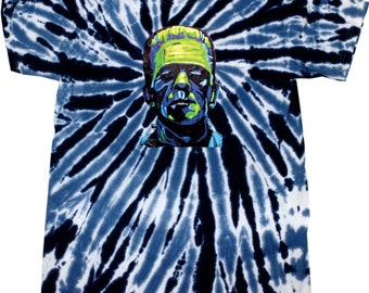 Men's Frankenstein Face Twist Tie Dye Tee T-Shirt 20719NBT2-1100T