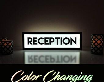 Reception Sign, Reception, Reception Signs, Business Sign, Shop Sign, Hotel Sign, Motel Sign, Light Up Sign, Wedding Sign, Wedding Reception