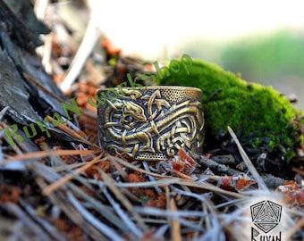 Bronze Celtic Dragons ring. Jörmungandr ring. Handmade ring Viking ring. Norse Viking Dragon Pagan ring Viking Jewelry