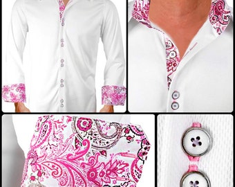 White with Pink Gray Paisley Moisture Wicking Dress Shirt - Made in USA