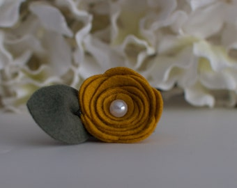 Mustard Felt Mini Rose- ONLY sold  with a picture frame from Kissel Ave.