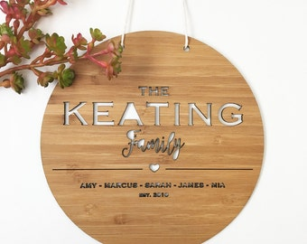 The Family Bamboo Wall Hanging (Round)