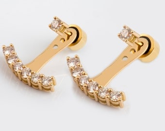 14K / 18K Solid Gold & CLIMBER EARRINGS Diamond Arch Shape Ladies Attractive Elegant Earrings - Danelian Goldsmith Workshop