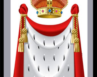 DIY Kings Robe and Crown, Red Kings Robe, Red Kings Crown, Red King Cutout, Red Crown Cutout, Kings Room Décor, Red Crown and Robe Wall Art