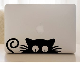 Cat laptop skin, cat decal, laptop sticker, window sticker, cat sticker, laptop decal, cat vinyl decal, computer decal, kitten laptop decal
