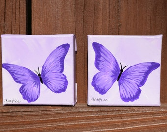 Two Tiny Treasures - Set of Purple Butterflies on 3x3 Canvases