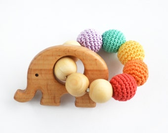 Teething Rattle Ring with wooden Elephant toy - Wooden teether - New baby - Babyshower gift - Boy gift - Wooden toy Elephant - Rainbow