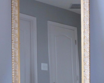 Vintage Gold Framed Ornate Rectangular Mirror Illinois Moulding Co Chicago 1964