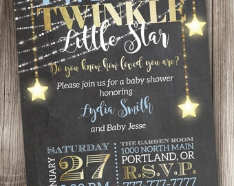 Twinkle, Twinkle Little Star Baby Shower Invitation, Twinkle Baby Shower Invitation, Little Star Baby Shower Invitation #003