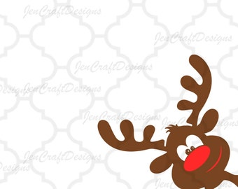Reindeer peeking SVG,EPS Png DXF,digital download files for Silhouette Cricut, vector Clip Art graphics Vinyl Cutting Machines
