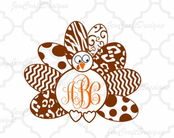 Turkey Monogram Frame SVG,EPS Png DXF,  studio files for Cricut, Silhouette, Vinyl Cutters and Screen Printing Cut Files, Print Then Cut
