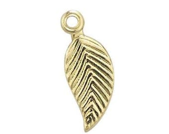 Leaf Textured - Gold Filled (GF Item#C201253) & Sterling Silver (SS Item#C301253) 12 x 4mm