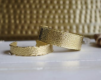 Hammered Gold Cuff Bracelets // Boho Brass Jewelry // Two sizes