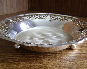 Ikora silverplated bowl, Ikora plated candy dish, footed bowl Germany, ornate scalloped edge bowl, Pearl finish bowl or candy dish