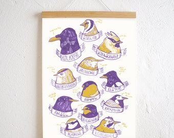 Set / native birds poster + poster Strip oak A3