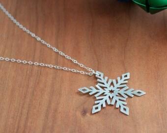 Snowflake Silver Pendant, Silver Winter Necklace