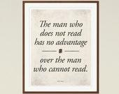 "Mark Twain ""Read"" - Medium Literary Quote Print, Literature Poster, Reading Print, Literary gift, Bookworm, Bibliophile, Instant Download"