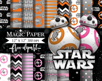50% OFF SALE Star Wars BB8 Digital Paper, Paper Pack, Scrapbook, Clipart Clip Art