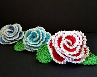 Crochet rose brooch Crochet brooch Big rose brooch Crochet flower Crochet rose pin Rose flower brooch Big corsage pin Pin crochet flower