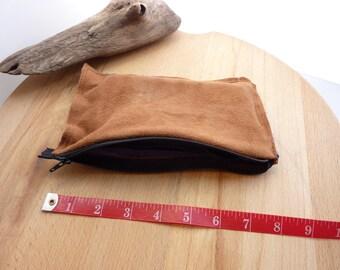 Doe Skin Suede Zippered Pouch Brown Deerskin Bag