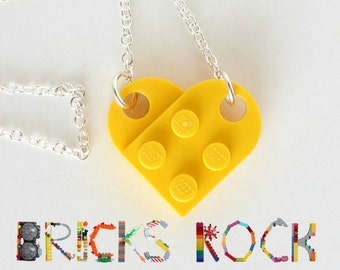 Yellow Heart Necklace - Jewelry made with LEGO® pieces