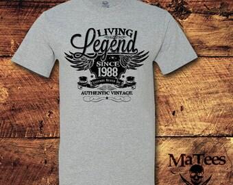 30th Birthday, 30 Birthday, 30th Birthday Shirt, 30 Birthday Shirt, 1988, Living Legend, Birthday, Birthday Gift, Birthday Shirt, T-Shirt