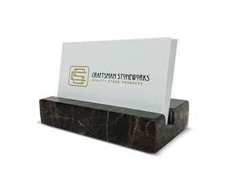Business Card Holder - Emperador Dark Brown Marble - Office Desk Home, Recycled Marble, Business Gift
