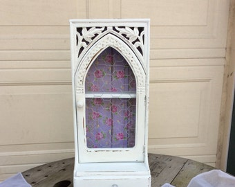 SALE! Shabby Chic White Curio Cabinet Chicken Wire Face