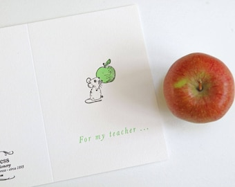teacher letterpress thank you greetings card - teachers gift - teacher card - teacher thank you - teachers apple - little mouse