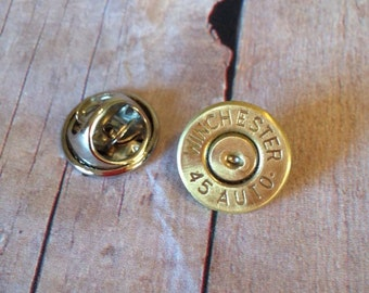 Winchester 45 Caliber Hat Pin/Tie Tack, Mens Accessories,  Up cycled bullets, Bullet accessories, Hunting accessories