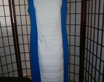 Women's Royal Blue/White Dress-Ribbed Panel Front