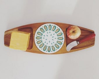 Mid Century Modern Cheese Board Atomic Trivet Turquoise & Gold Vintage Hardwood Hand-carved Cutting Board Japan Sere
