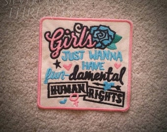 Sew-on patch - Girls just wanna have fun-damental human rights feminist embroidery - retro style - 10 cm / 4 in