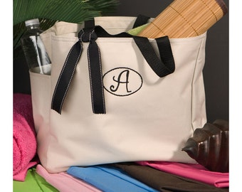 Personalized Tote Bag - Avery Beach Bag - Canvas Bag
