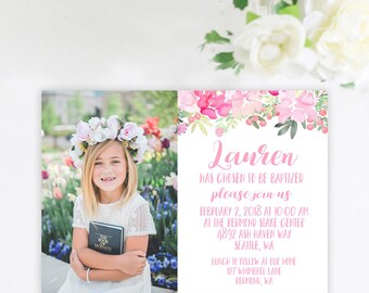 Double SidedFloral Baptism Invitation, LDS Girl Baptism Invitation, I am a child of God invitation, LDS Baptism Invite, Pink Floral