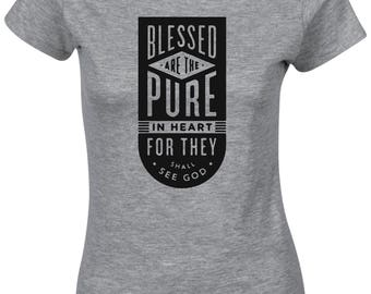 Blessed Are The Pure In Heart Christian Jesus Christ  Religious   Women T Shirt