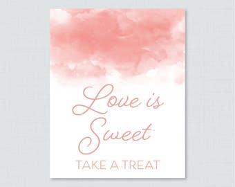 Pink Watercolor Love is Sweet Sign - Printable Pink Bridal Shower Favor Table Sign - Pink Watercolor Love is Sweet Take a Treat Sign 0030-P
