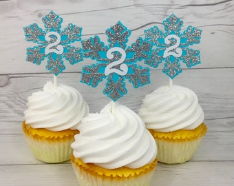 Winter Onederland Cupcake Toppers, Snowflake Cupcake Toppers, Silver Glitter Snowflake Topper