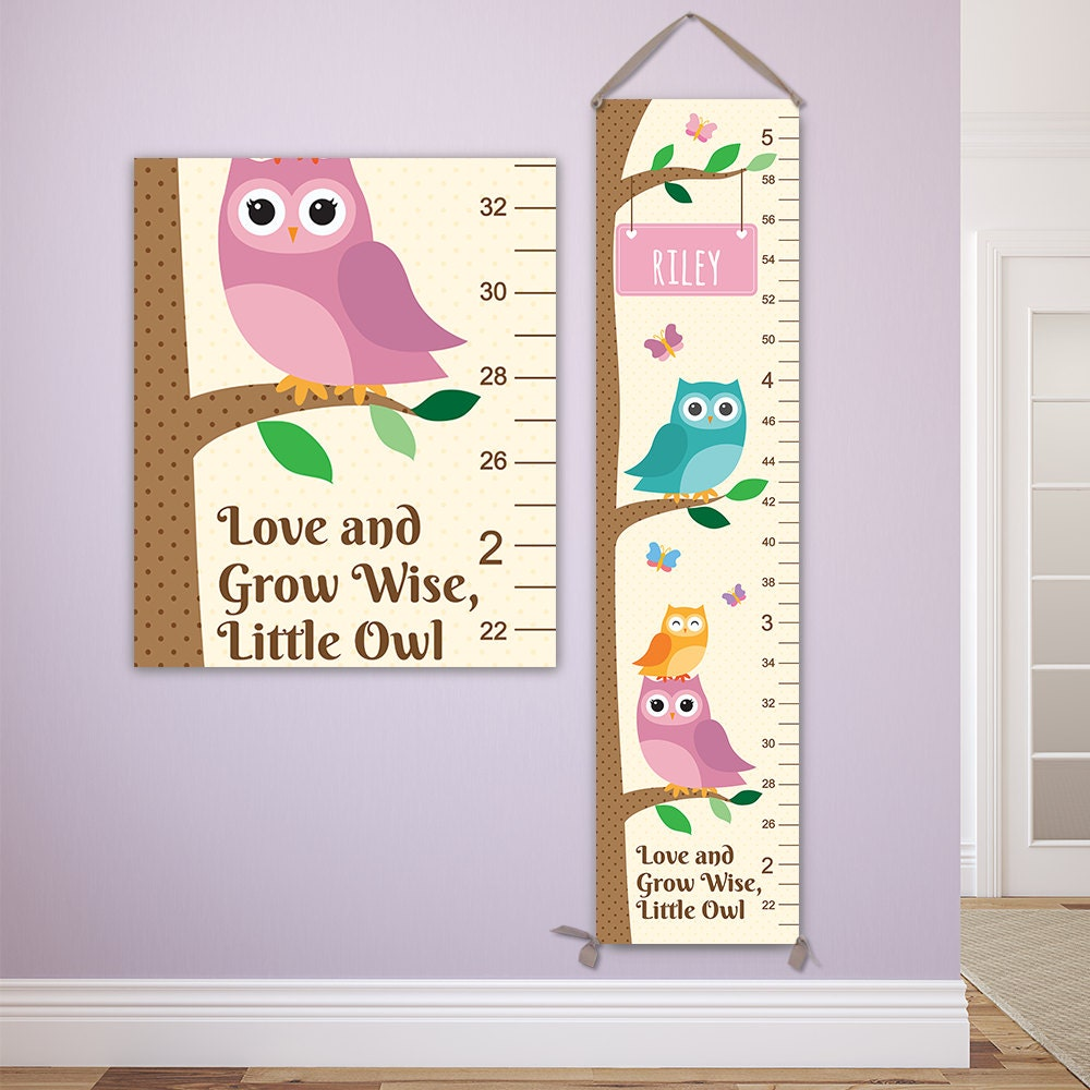 Owl growth chart pick your color personalized canvas growth owl growth chart pick your color personalized canvas growth chart owl nursery decor owl baby art personalized toddler gift gc4000c nvjuhfo Images
