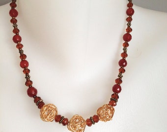 Carnelian necklace Gold necklace