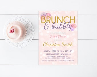 Brunch & Bubbly Bridal Shower Invite, Bokeh Background, Watercolor Flower, Printable Bridal Shower Invitation, 4x6 or 5x7- Digital File