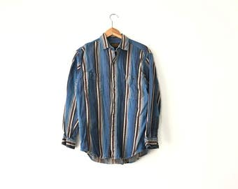 WESTERN STRIPED SHIRT // 80s // Mens Medium // Western Shirt // Mexican Blanket // Western // Colorful Shirt // Mexican Blanket Shirt // 90s