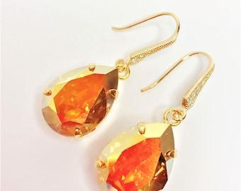 Topaz Crystal Drop Earrings Metallic Sunshine Swarovski Dangles Topaz Bridal Earrings Bridesmaid Gift Mother of the Bride Sparkly Earrings