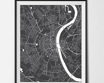 Cologne Germany Map Art, Germany Art Print Cologne Map of Cologne City Map Poster Germany Gift Cologne Art Poster Travel Map